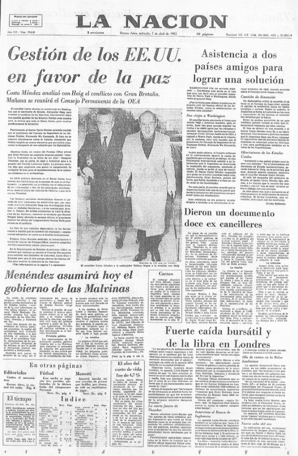 Tapa La Nación 7 de abril de 1982
