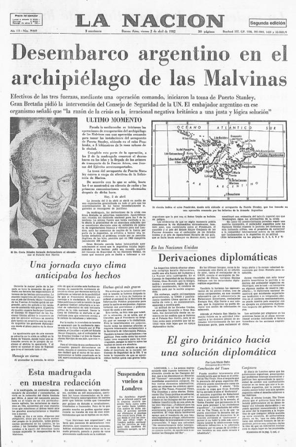 Tapa La Nación 2 de abril de 1982